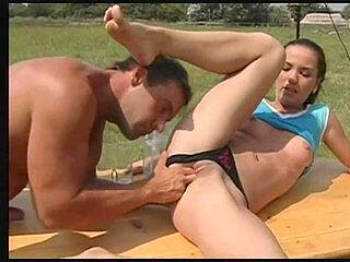 Outdoor cumshot, jenny jizz, arse lick